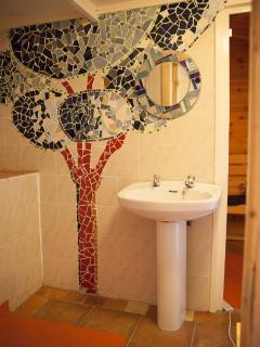 Sauna shower area