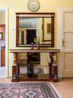 the big mirror in the dining room