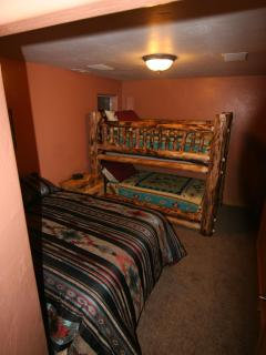 2nd bedroom-with fullsize bed and beautiful custom made twinbunk bed. All have pillowtop mattresses