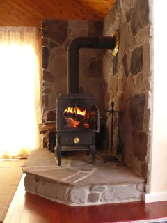 Wonderful wood stove where you can enjoy the view of the flame - firewood supplied