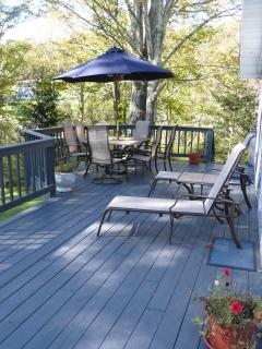 Spacious deck with dutdoor dining for 6-8 and grill, and lounge chairs