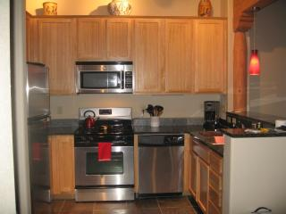 Kitchen with stainless steel appliances and nice granite counter tops!