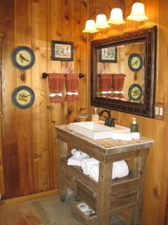 Custom sink and bathroom vanity.