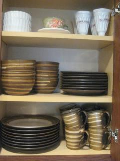 stoneware, stemware, pots and pans, mixing bowls, cookie sheets, pitchers, serving pieces, more