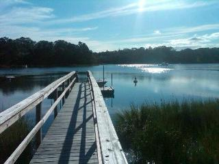 Our private dock on tidal Taylors Pond- bird watching, kayaking with access to estuary & the sound
