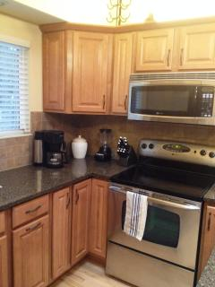 Modern kitchen; Bunn coffee maker, Henkle knives