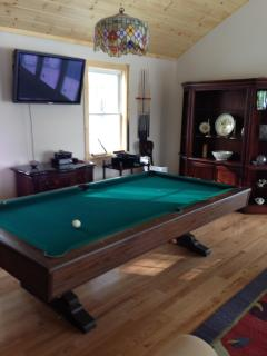 Pool Table area with second HD TV