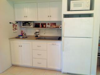 Kitchenette with full fridge, micro, toaster oven and coffee maker