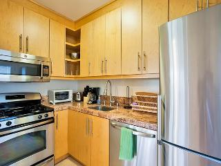 Brand new fully equipped kitchen has everything you need for cooking a meal.