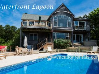 KRIEH - Lagoon Waterfront Luxury,  Pool and Poolside Hot Tub, 500' of Private Sandy Lagoon Beach,  Sweeping Water Views, Oak Bluffs