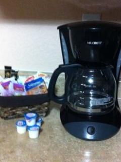 Coffee maker we provide coffee, tea, hot cocoa, instant oat meal, sugar, creamer, truvia, etc.