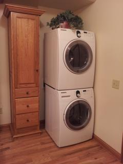 stakable washer and dryer in bathroom
