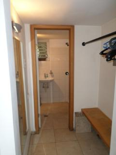 Downstairs toilet and coat rack
