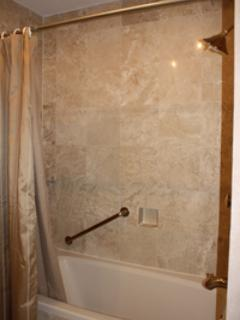 Guest Bath/Shower with Marble Tile