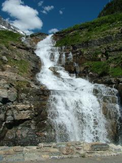 One of the waterfalls seen along the Going to the Sun Road in Glacier National Park.