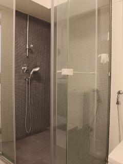 The en-suite WC has a fantastic large modern shower cabinet