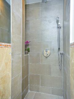 detail of walk-in shower with porcelain tile, and hand-held spray in addition to rainmaker shower