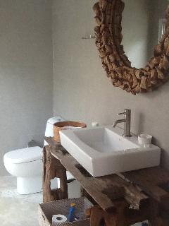 Guest bathroom, with bespoke driftwood vanity