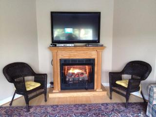 A gas fireplace is available for a morning or evening chill