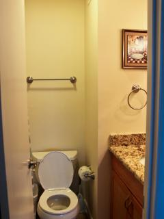 Master Bath - all new - curved shower rods give you more elbow room