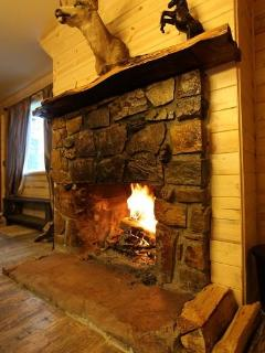 cozy real wood buring fireplace