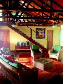 The living area is colorful and comfortable