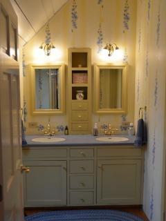 Upstairs bathroom, two-room, double vanity