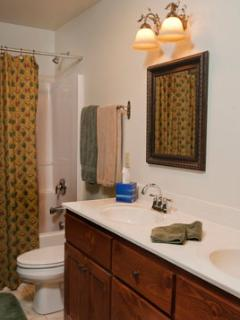 Large Bath, with Double Sinks and Shower Tub. Plenty of soft, fluffy Linens provided.