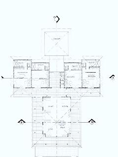 Floorplan, pool is directly in front of main pavilion at base of plan.