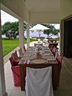 Eat under cover on the expansive open verandahs, with ocean views from everywhere.