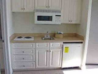 Kitchen are - stove top, refrigerator, microwave, and sink.  Toaster and coffee maker too