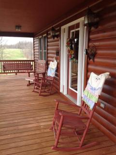 Rocking chairs for relaxing and viewing the mountains