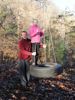Kids & adults will both love to take a swing on our big tire swing you will find along hiking trail