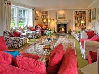 Drawing room with log fire and library of books & games