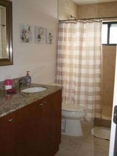 Spacious bathroom with rain head shower