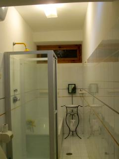 One bathroom with shower and tub