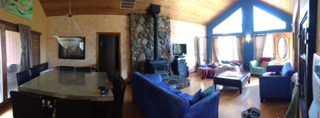 wider view of living room/wood stove