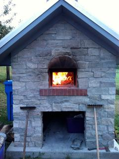 Our wood-fired oven in action.