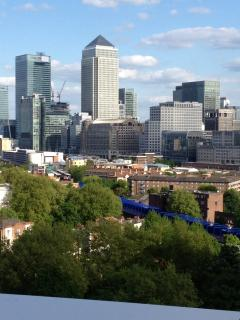 View of canary Wharf from terrace