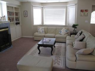 Family Room with Book Shelf and Fireplace