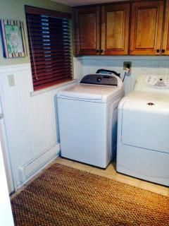 We have full size washer/dryer including soap, bounce, stain fighter,iron and board etc....