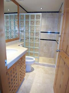 Glass brick shower