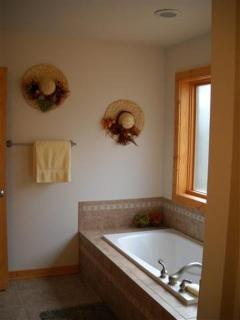 Private master bathroom with jacuzzi tub, shower and double sinks.