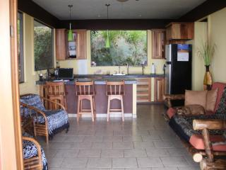 Open kitchen and living area of Bungalow 1.