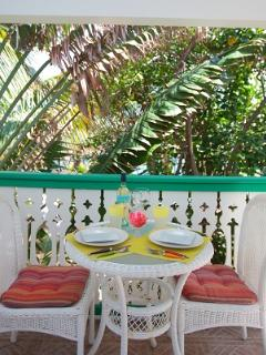 Outside dining- This pic was taken before the trees were trimmed. See 1st pic with view now