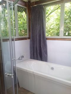 The bathroom with a bath and shower, is set within its own natural surrounds. Sunbirds abound!