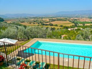 Enjoy panoramic views from this 16th century house with private pool.