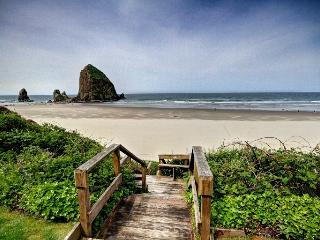 View of Haystack Rock from Beach Stairs