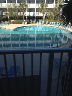 Outdoor pool view from front door