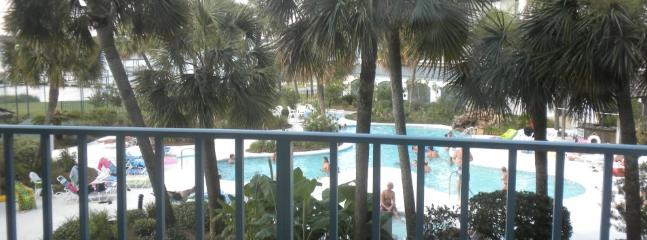View of the pool area from the balcony